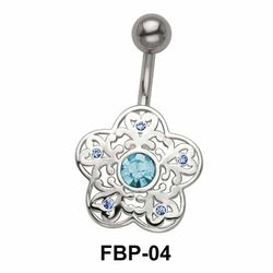 Stone Set Filigree Floral Belly Piercing FBP-04