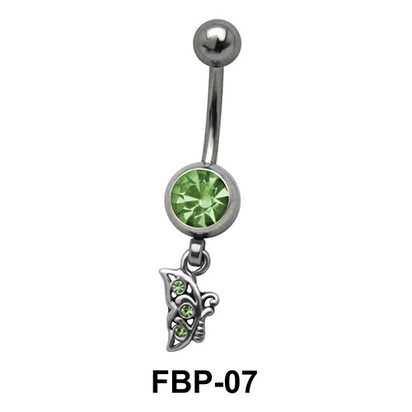 Butterfly Dangling from Round Stone Filigree FBP-07