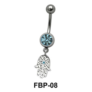 Hamsa Hand Hanging from Stone Filigree FBP-08