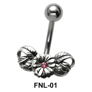 Stone Set Flower Belly Piercing FNL-01