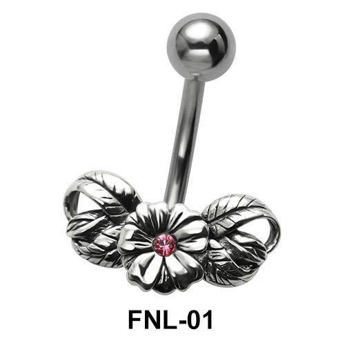 Stone Set Flower Belly Piercing FNL-01