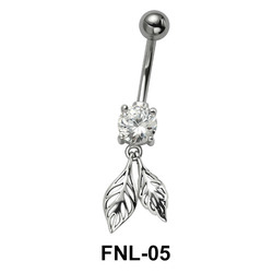 Leaf Shaped Belly Piercing with Stone FNL-05