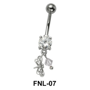 Belly Piercing with CZ and Butterfly FNL-07