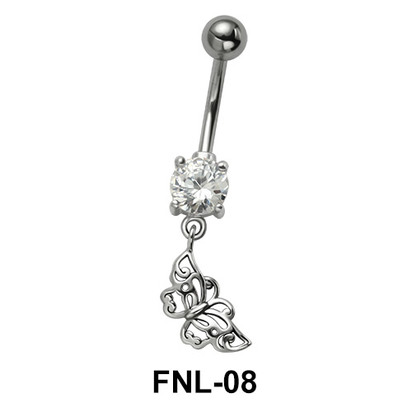Butterfly with CZ Belly Piercing FNL-08