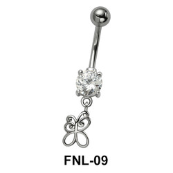 Butterfly with CZ Belly Piercing FNL-09