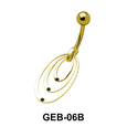 Stone Set Concentric Circle Belly Rings GEB-06B
