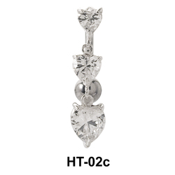 Multiple Stone Heart Belly Piercing HT-02c