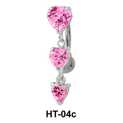 Multiple Stone Heart Belly Piercing HT-04c