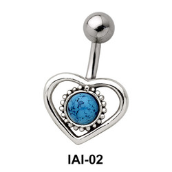 Heart with Stone Belly Piercing IAI-02