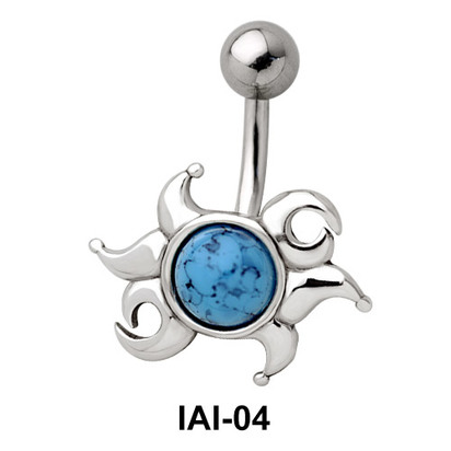 Radiant Sunrays Shaped Belly Piercing IAI-04