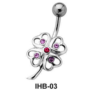 Stone Set Flower Belly Piercing IHB-03