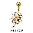 Stone Set Flower Belly Piercing IHB-03