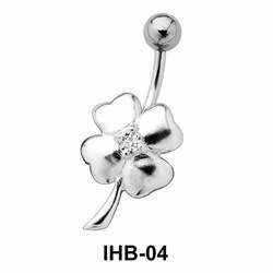 Stone Studded Flower Design Belly Piercing IHB-04
