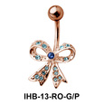 Stone Encrusted Bow Belly Piercing IHB-13