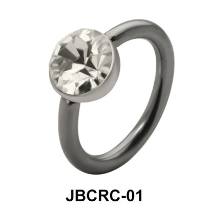 Colorless Stone Set Belly Closure Ring JBCRC-01