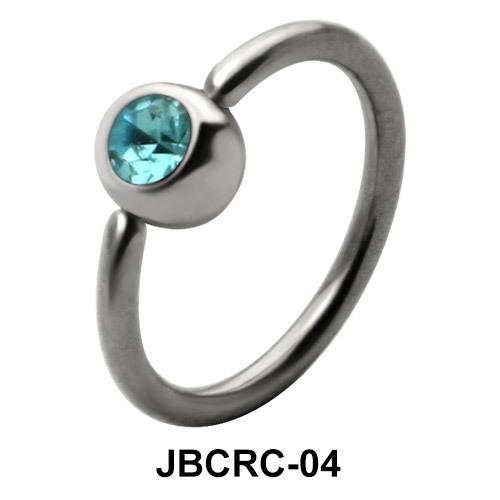 Blue Stone Belly Closure Ring JBCRC-04