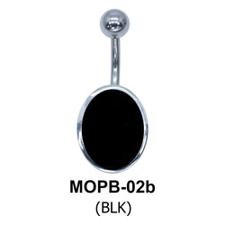 Oval Black Enamel belly Piercing MOPB-02b