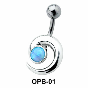 Stone Set Comma Belly Piercing OPB-01