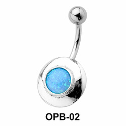 Black Enamel Oval Belly Piercing OPB-02