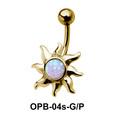 Stone Set Sunrays Designed belly Piercing OPB-04s