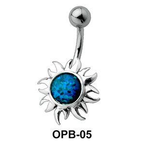 Stone Set Sunflower Belly Piercing OPB-05