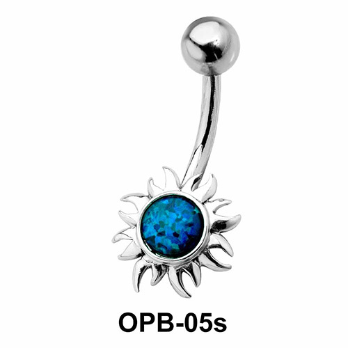 Stone Encrusted Flower Belly Piercing OPB-05s