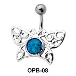 Stone Encrusted Butterfly Filigree Belly Piercing OPB-08