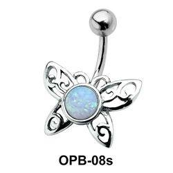 Stone Set Butterfly Filigree Belly Piercing OPB-08s
