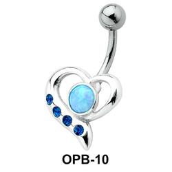 Stone Encrusted Heart Belly Piercing OPB-10