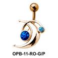 Interesting Design Stone Set Belly Piercing OPB-11