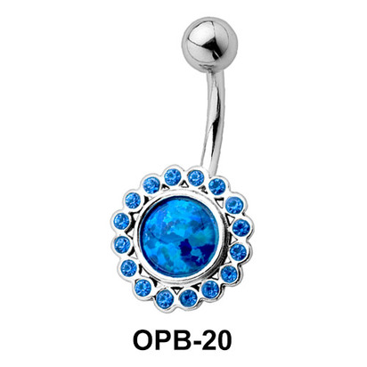 Stone Studded Flowery Belly Piercing OPB-20