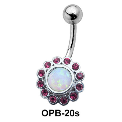 Stone Studded Flowery Belly Piercing OPB-20s