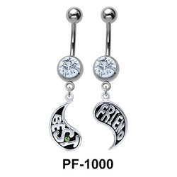 Yin Yang Shaped Best Friend Belly Piercing PF-1000