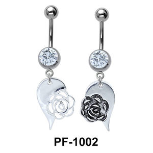 Rose Heart Innovative Belly Piercing PF-1002