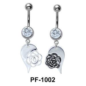 Rose Heart Innovative Belly Piercing PF-1002