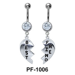 Broken Heart Belly Piercing with Stones PF-1006