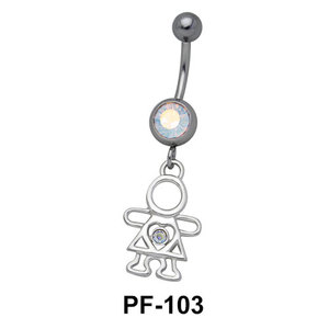 Stone Set Doll Belly Rings PF-103