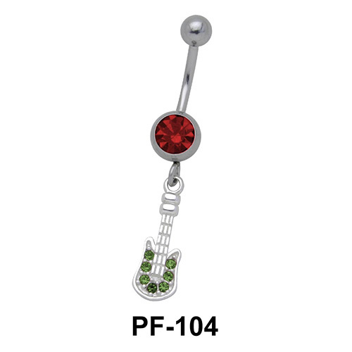 Guitar Set in Stones Belly Rings PF-104