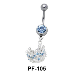 Crown with Stones Belly Piercing PF-105