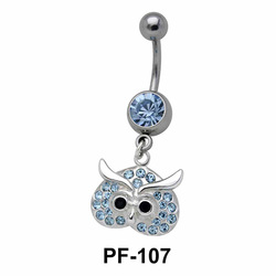 Stone Studded Owl Belly Piercing PF-107