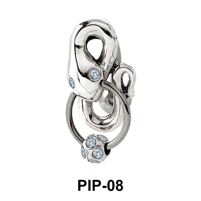 Coiled Snake with Stones Belly Piercing PIP-08