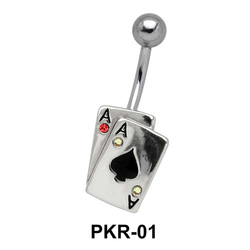 Dual Spade Cards Belly Piercing PKR-01