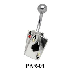Dual Spade Cards Belly Piercing PKR-01