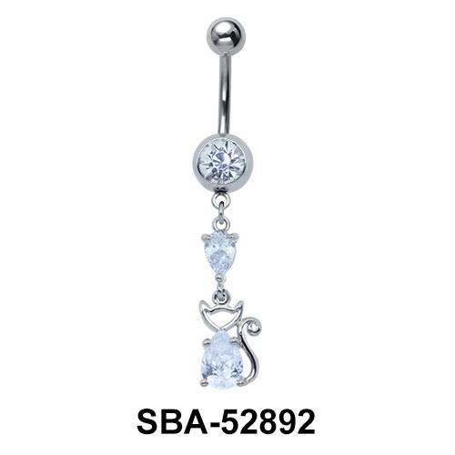 Kitty Shaped Belly Piercing SBA-52892