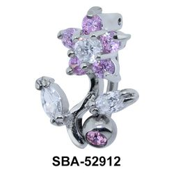 Flower Stone Set Belly Piercing SBA-52912