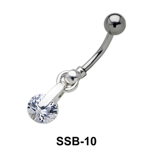 Round Brilliant Stone belly Piercing SSB-10
