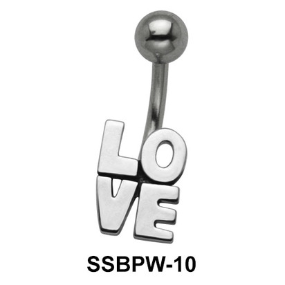 LOVE Scripted Simple Belly Piercing SSBPW-10