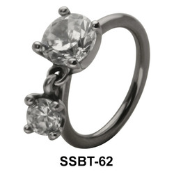 Belly Piercing with Round Cut CZ SSBT-62