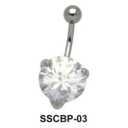 Prong Set Belly CZ Crystal SSCBP-03