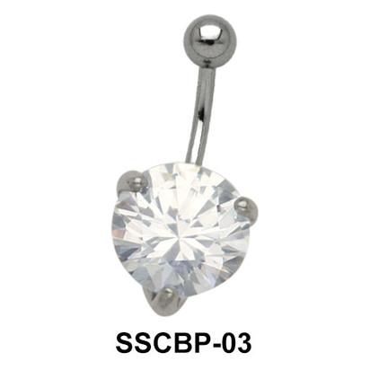 Prong Set Belly CZ Crystal SSCBP-03